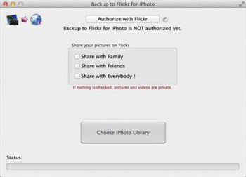 Backup to Flickr for iPhoto 1.3 Bilingual