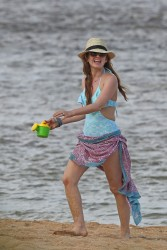 Isla Fisher - on the beach in Hawaii 12/22/13