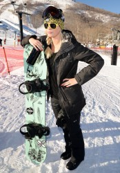 Ireland Baldwin - Oakley Learn to Ride with AOL Event in Park City, Utah 1/17/14