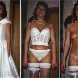 young brides in white stockings