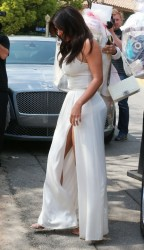 Kim Kardashian - Showing Some Leg arriving to Ciara's Baby Shower in Beverly Hills 3/22/14
