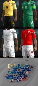 Download PES 2013 England WC2014 Kits by Nach