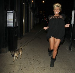 Frankie Essex up skirt on night out in London 3/4/13