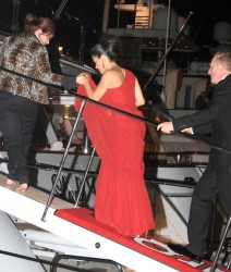 Salma Hayek boarding and leaving a yacht at the 63rd Annual Cannes Film Festival in Cannes 6/14/10