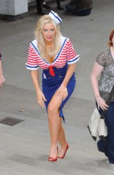Gemma Merna and Claire Cooper in sexy sailor outfits at the Drinkaware launch of their new campaign in Trafalgar Square 9/20/10