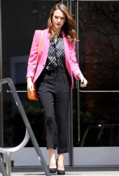 Jessica Alba in satin blouse leaving a meeting at AOL in Beverly Hills 4/5/12