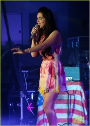 Lana Del Rey in short floral dress that blows up performs live in concert at the O2 Academy - Birmingham, United Kingdom 5/12/13