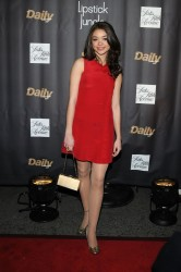"""Sarah Hyland in red dress and pantyhose at """"Lipstick Jungle"""" New York premiere 1/31/08"""