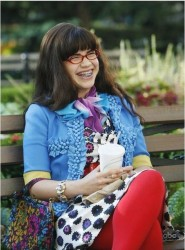America Ferrera in red pantyhose and pink and black striped pantyhose from Ugly Betty s3e6, photos and screencaps