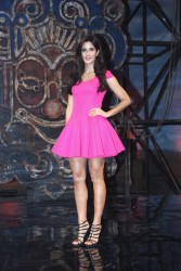 "Katrina Kaif leggy in short pink dress and upskirt at the  music video launch of a song from ""Dhoom 3"" 11/16/13"