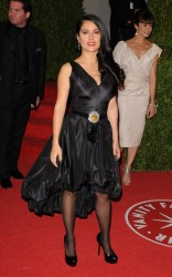 Salma Hayek elegant in black dress and pantyhose at the 2009 Vanity Fair Oscar Party 2/22/09