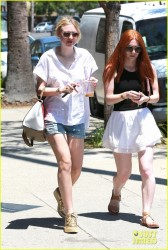 Dakota Fanning - Wearing shorts in Studio City 6/28/14