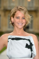 Jennifer Lawrence at the Christian Dior Fashion Show in Paris on July 7, 2014