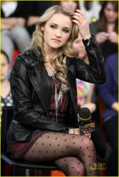 Emily Osment leggy in pantyhose at MuchOnDemand at MuchMusic 1/13/10