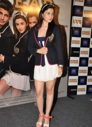 Alia Bhatt nice legs in short dress at Student of the Year first look in PVR 8/2/12