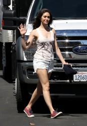 Emmy Rossum on the set of Shameless in Pasadena 07-23-2014