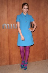 Dianna Agron leggy in purple pantyhose at the Miu Miu Spring/Summer2013 show during Paris Fashion Week 10/3/12