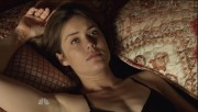 Megan Boone bra and panties on The Blacklist S02E01; The Tonight Show 9/22/14