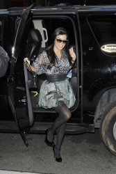 Kourtney Kardashian legs in pantyhose arriving back at her hotel on the Lower East Side 10/7/11