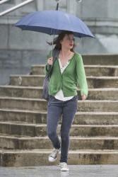 with umbrella
