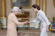 Angelina Jolie with Queen Elizabeth II at Buckingham Palace 10-10-2014
