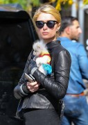 Paris Hilton Seen with her dog waiting for a cab in the East Village in NY October 20-2014 x32