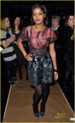 Keke Palmer leggy in pantyhose attends the DKNY Fall 2010 Fashion Show during Mercedes-Benz Fashion Week 2/13/10