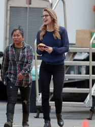 Melissa Benoist - not in costume, on the set of Supergirl in LA - 3/9/15 x3